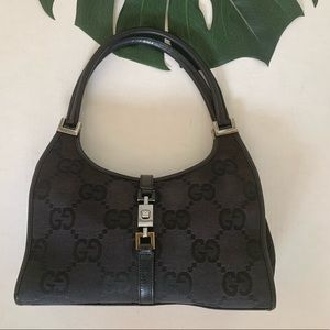 Authentic Gucci large web print classic Bardot bag
